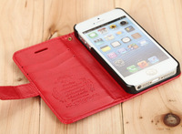 New Luxury pattern leather For iphone 5 Case Wallet Style Cover 6 Colors Available for apple iphone 5 cell phone accessories