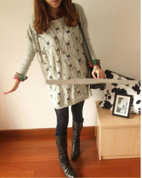 sibyl,The giraffe cartoon lovely design big T-shirt,Medium style sweater(China (Mainland))