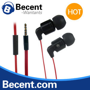 free shipping red flat cable headphone with mic earphone comes in blister box vmax