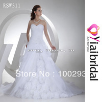 RSW311 Wedding Dress With Organza Flowers Real Sample In Stock Cheap Price But Good Quality