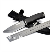Freeshipping OEM BUCK 768 Hunting Knife Camping Knife Survival Knife Silver & Black blade Retail/Wholesale