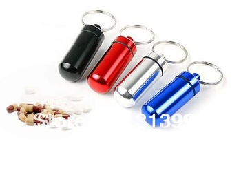 WaterProof Pill Case Drug Micro metal aluminum Pill box Color Mix keychain pill holder 120pcs