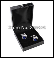 New Arrival Promotion! black leather  rectangle Cufflinks Box 12pcs/lot 67*79mm size leather  gift boxes for men free ship