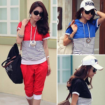 Fashion Womens Ladies Short Sleeve Casual Stripe Suit Middle Pants Hoodie Sport Wear Sweats 3 Color Size S Free Shipping #675