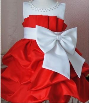 NEW,2013 children dress 4pcs/lot girls High-grade Princess dress chiffon Big bowknot dresse for summer free shipping red pink