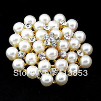 Rhinestone Brooch BRIDESMAID FLOWER GIRL WEDDING Gold Alloy Created Pearl Fashion C0366