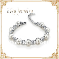 Free shipping sterling silver bracelets with high luster natural pearl 9pcs 8-8.5mm BT10124