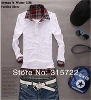 korean hot autumn men's slim causal long-sleeved polo shirt fake two male models T-shirt M,L,XL,XXL V-032