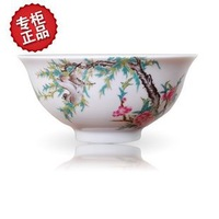Top grade bone china bowls A set (4pcs) Four seasons flower bird Microwave oven tall prevent hot