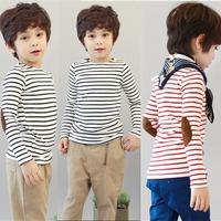 Kids Cool Boys Long Sleeve stripe t Shirt  long-sleeve patch T-shirt free shipping