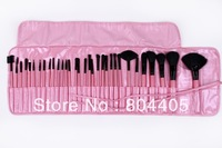 free shipping! professional 32pcs pink makeup brush set,  goat hair cosmetic brush set