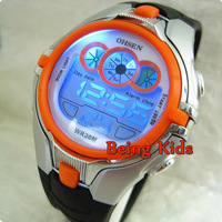 New OHSEN Sport Children's Boys LED Digital Chronograph Waterproof Quartz Wrist Watches 0739 Orange Color