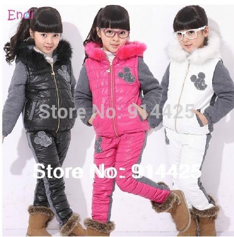 2014 Ski Suit Set Girl Winter Sports Child Thickening Clothes Jacket Set(China (Mainland))