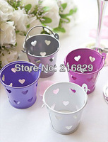 China post air mail free shipping Wedding Favor Metal Favor Pail With Heart Cut-outs - Set of 12 More Colors