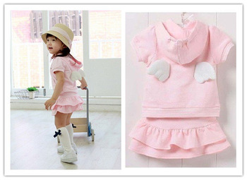 Pink girls angel suit/ Short sleeves top with angel wings+ cakes short dress/ New arriver