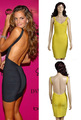 Free shipping in stock short navy blue  yellow black backless bandage dresses sexy evening dresses