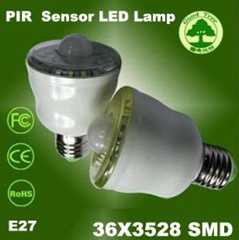 E27 36LED SMD PIR Occupancy Motion Sensor LED Bulb(White/Warm White)