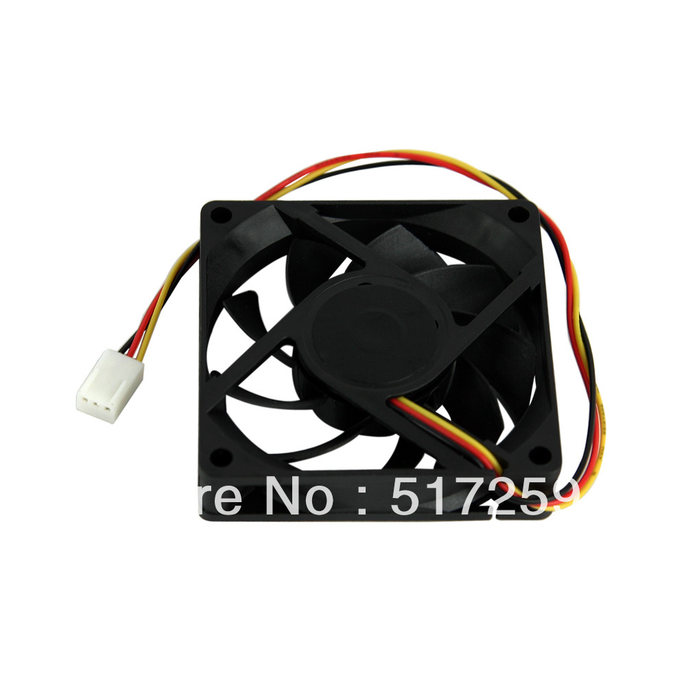 FREE SHIPPING BRUSHLESS DC COOLING FAN 7 BLADE 12V 7015 3PIN CONNECTOR BLACK #DN011# 1PC(China (Mainland))