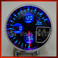 """Special Offer Original Logo 5"""" Blue LCD 4 in 1 Auto Gauge For Tachometer + Volt + Water Temp + Oil Press"""