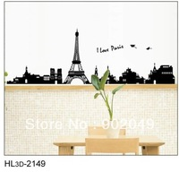 5pcs/lots 50x70cm Hot sale removable wall stickers Eiffel Tower wall decal stickers romantic love poem KW- HL3d-2149