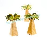 Free Shipping 372pcs Palm Tree Wedding Favor Box TH014