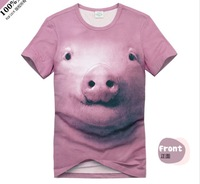 Pink pig 3 dt shirt fashion cotton O-neck t-shirt in man