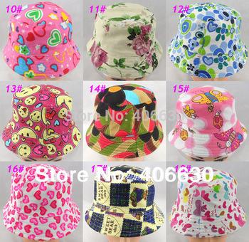 summer unisex kid bucket hat, children sun beach hat, baby top hat, multiple design, 2pcs/lot, free shipping