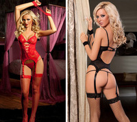 Free Shipping Sexy Lingerie Women Black Red Lace Dress +G string +Garter +Handcuff +Stockings Set Sleepwear Sexy Costume SL53