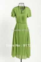 New High-end Women's Maxi Dress Fashion Elegance Chiffon Pleated Lacework Short Sleeve Green Long Dresses 5 Sizes Free shipping