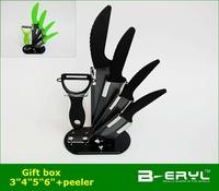 """BERYL 6pcs gift set , 3""""/4""""/5""""/6""""+peeler+Knife holder Ceramic Knife  sets 2 colors Curve handle,black blade, CE FDA certified"""