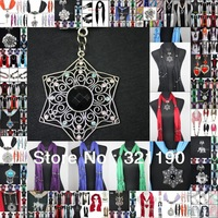 2013Hot DHL Free wholesale scarf jewelry with beads cotton scarves heart charms pendants necklace 72pcs Mixed 36 design & colors