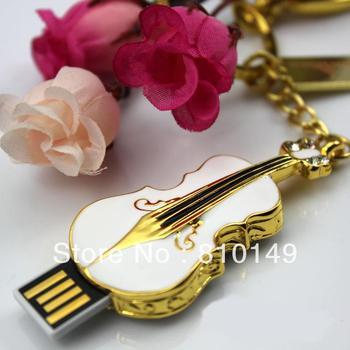Jewelry Guitar shape usb flash drive   4GB 8GB 16GB 32GB  64GB Free shipping +key chain