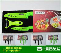 "BERYL Black blade 3pcs set , black Ceramic Knife set 4""6""kitchen knife+peeler+gift box, 2 colors ABS handle,"