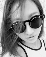 2013 Round frame with 2pcs clear lenses and 2pcs sunglasses lenses flip fashion sunglasses, black leopard white , gafas de sol
