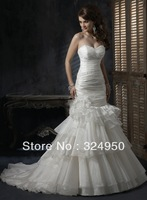 New 2014 Dress A-Line Strapless Chapel Train Organza Crystal Beads Wedding Dresses YZ130101