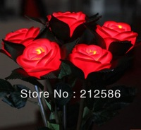 Free shipping11pcs/lot Romantic Simulation Red Rose Flower with Leaves,LED night light.Valentine's Day Gift,Wedding Gift