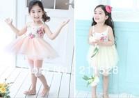 Summer sleeveless girls dresses flower strap gallus dress cotton girl's one-piece gauze dress kids wear 5pcs  630222J