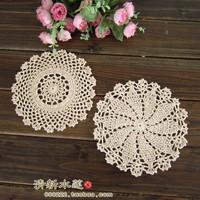 wholesale cotton hand made crochet doily, 3 designs cup mat round 16-18cm crochet applique 15PCS/LOT