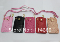 2013 New Hot and popular Ostrich grain leather case for camera Casio TR150 TR200 for iphone 4/5 for samsung 9300 9200 9220