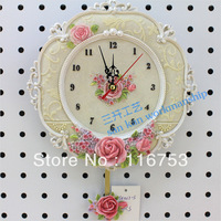 free shipping living room Garden Rose Cameo carved mute resin digital wall clock