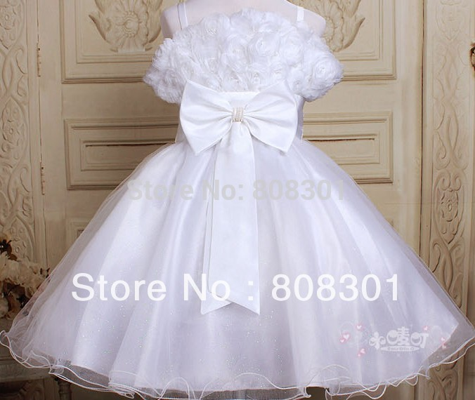How to give the child up decent enough, pure white lotus Girls Princess Dress baby dress girl dress 45343(China (Mainland))