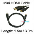 Free Shipping+Mini HDMI TO HDMI CABLE CORD 3M 10FT Male M/M for HDTV PS3 GOLD+wholesales+Best quality