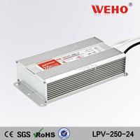 (LPV-250-24) 110VAC(220VAC) to 24vDC Power transformer waterproof IP67 dc 250w 24v waterproof led driver