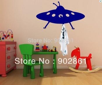 Funlife Unique UFO Wall Decor Hooks Stickers Kids Room Furniture MEDIUM 45cm x 80cm with 3 Mini Hooks as Bonus BYC10B25