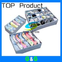 3 pcs a set foldable box Non woven Bamboo Charcoal fibre  home storage Box for bra,underwear,necktie socks