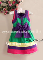 Retail Mother Care Dress Girl Color Matching Dresses  1 Pcs 9M-5T Kids Big Bowknot Striped Cotton Jumper Dress Free Shipping