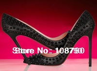 2013 New Arrive Women's Spiked Pumps Red Bottom Sole Shoes Sexy Pigalle Pointed Toe Black Free Shipping