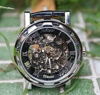 Hollow skeleton silver men automatic mechanical watches stem winder stainless steel watch case hand winding black leather strap