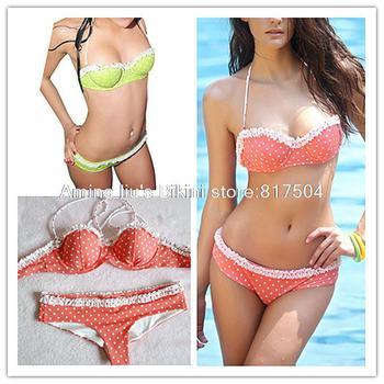 2015 New Free Shipping Fashion Sexy Vintage Triangl Dot Lace Push Up Swimwear Women Bikini Set Swimsuit Biquini Bathing Suit