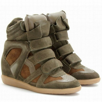 Isabel Marant High-top Suede Sneakers,Genuine Leather Khaki Green,EU35~41,Dense Tooth Soles,Heel 8cm,Drop Shipping/Free Shipping